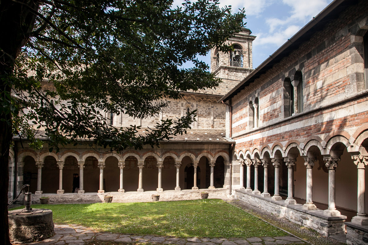 cloisters among towns on Lake Como Italy Piona